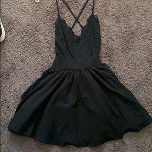 Tobi Black Lace Top Skater Dress